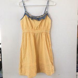 UO Kimchi Blue yellow flounce mini dress